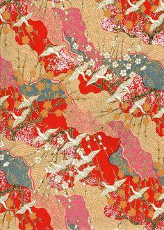 White Cranes on Red Blue Orange Japanese Yuzen Chiyogami Washi Paper Sheet 23 x… Japanese Paper, Japanese Fabric, Japanese Crane, Japanese Origami, Oriental Print, Oriental Pattern, Chinese Patterns, Japanese Patterns, Japanese Textiles