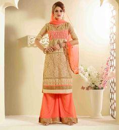 Net Zari Work Beige Semi Stitched Pakistani Suit - 119M