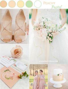 Peach Pastel Wedding Inspiration with green and gold - KnotsVilla