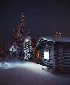 "wet snow starlit cabin ""Pyhä-Luosto National Park by Konsta Linkola"" Winter Szenen, Winter Cabin, Cozy Cabin, Winter Night, Winter Time, Photo Images, Cabins And Cottages, Log Cabins, Cabins In The Woods"