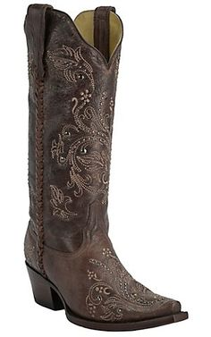 Corral Boot Company Women's Vintage Brown with Tan Embroidery & Studs Snip Toe Western Boots | Cavender's