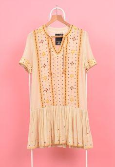 70s Vintage Indian Embroidered Gauze Hippy Mini Dress