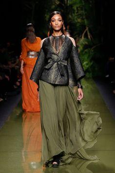 Balmain Spring 2017: Jourdan Dunn walks the runway in kimono sleeve top and maxi skirt