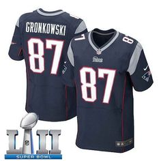 10b56c455 Men s Nike New England Patriots  87 Rob Gronkowski Stitched Navy 2018 Super  Bowl LII Elite Jersey