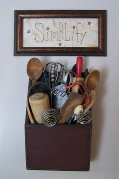 Love this wall hanging kitchen utensil holder! Looks like it may have been a letter holder at one time. Love the pic, too! Primitive Homes, Primitive Kitchen, Old Kitchen, Country Primitive, Country Kitchen, Vintage Kitchen, Kitchen Decor, Primitive Bedroom, Primitive Antiques