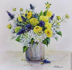 Купить Солнечный букет - желтый, букет, букет цветов, натюрморт с цветами, картина, картина в подарок