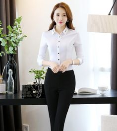 Novelty White Professional Work Wear Suits With 2 Piece Tops And Pants Formal Uniform Design Ladies Office Trousers Sets Outfits Uniform Design, Trousers, Pants, Office Wear, Asian Beauty, Work Wear, Lady, Womens Fashion, How To Wear