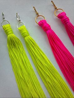 Spring Trend Boho Chic NEON Fringe Statement Earrings Shoulder Dusters Tassels