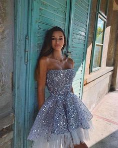 Backless Homecoming Dresses, Hoco Dresses, Tulle Prom Dress, Sequin Mini Dress, Event Dresses, Strapless Dress, Girls Dresses, Formal Dresses, Party Dress