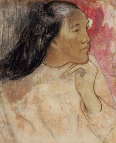 The Athenaeum - A Tahitian Woman with a Flower in Her Hair (Paul Gauguin - )