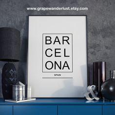 Barcelona impresión, póster de Barcelona, impresión de España, España cartel, minimalista moderno, impresión de tipografía, arte escandinavo, impresiones de la ciudad, arte de la ciudad