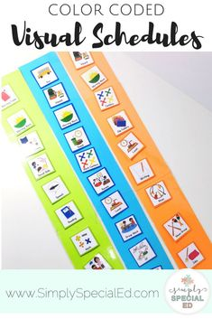 Simple Visual Schedules - Special Education teachers are going to love using these visuals in their sped or autism classrooms. Keep your students on track with uniform, color coded, individual student schedules, work center schedules, and whole group schedules. You get 144 visual schedule pieces, whole group interactive schedule, center schedules, AND MORE. Click for details!