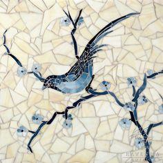 Chinoiserie, a hand cut jewel glass mosaic shown in Marcasite, Pewter and Mica with Quartz Sea Glass™, is part of the Delft Collection by Sara Baldwin for New Ravenna Mosaics. Copyright New Ravenna ® Tile Art, Mosaic Art, Mosaic Glass, Stained Glass, Wall Tile, Tile Murals, Chinoiserie, Mosaic Animals, Mosaic Birds