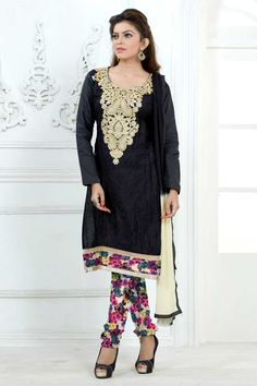 Black Cotton Churidar Suit With Dupatta Black Cotton, semi stictch churidar suit. Neck embroidered with embroidered, resham and zari work.  Sweetheart neck, Below knee length, full sleeves kameez.   Multi cotton churidar.   Black and cream chiffon dupatta with lace border with work.  http://www.andaazfashion.co.uk/black-cotton-churidar-suit-with-dupatta-dmv13709.html
