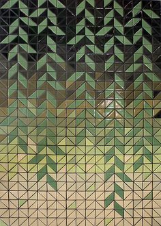 Half Square, designed by Heather Moore and produced by Yellowwoods Art. Handmade ceramic elements, 2.1m x 1.4m; 2014.