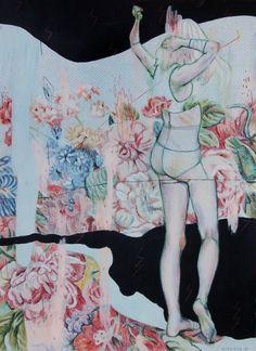 "Solo I / 11X15"": Acrylic + pencils / paper by Alexandra Levasseur"