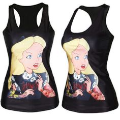 5b6015f13f676 Sexy Women Graphic Print Gothic Tank Tops Punk Vest Sretchy T-shirt Rock  Blouse