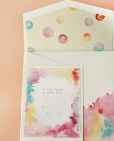 Make DIY watercolor invitations!  @catherine gruntman gruntman Coleman - we may have a project here!!!