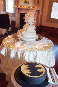 The wedding cake for the couple and one for Batman - well it was the wedding of Batman and Taryn