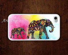 iPhone 4 Case, iphone 4s case --Mama Elephant and Baby Elephant iphone case,colorful elephant iphone 4 case, iphone case. $9.99, via Etsy.