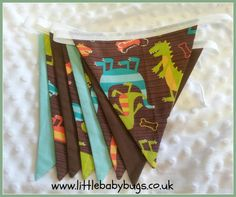 Dino Dudes Brown and Blue Dinosaur Fabric by LittleBabybugsLtd, £13.50