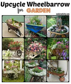 DIY Wheelbarrow Fairy Garden We have compiled a collection of ideas for your inspiration. Choose the nicest design of a wheelbarrow planter to Upcycle Wheelbarrow for Garden based on your preference and start a DIY adventure to make your garden the most beautiful in your area!