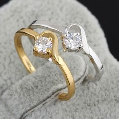 Full Size Copper Finger Jewelry Ring Inlay White Shiny Zircon Two Colors for Women