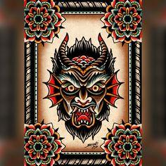 Bild von * NEU * Demon Print tattoo tattoo tattoo tattoo tattoo tattoo tattoo ideas designs ideas ideas in memory of ideas unique.diy tattoo permanent old school sketches tattoos tattoo Traditional Tattoo Devil, Traditional Tattoo Painting, Traditional Tattoo Old School, Traditional Tattoo Flash, 16 Tattoo, Devil Tattoo, Dark Tattoo, Tattoo Music, Tattoo Black