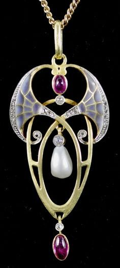Lodewijk Willem van Kooten - An Art Nouveau gold, translucent enamel and gem set pendant, the Netherlands, circa 1915. #VanKooten #ArtNouveau #pendant