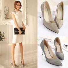 3dda8cb5277b Fashion Women High Heels Pointed Toe Glittering Stilettos Shoes Party Pumps  Golden