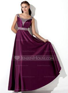 Evening Dresses - $126.99 - A-Line/Princess Floor-Length Charmeuse Evening Dress With Ruffle Sequins (017013101) http://jenjenhouse.com/A-Line-Princess-Floor-Length-Charmeuse-Evening-Dress-With-Ruffle-Sequins-017013101-g13101?ver=0