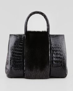 Small Mink Fur-Stripe Crocodile Tote Bag, Black by Nancy Gonzalez at Bergdorf Goodman.
