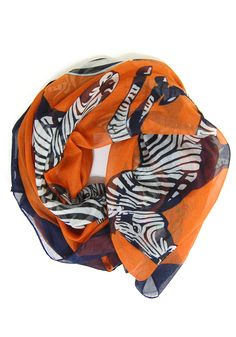 Zha Zha Zebra Scarf: Orange
