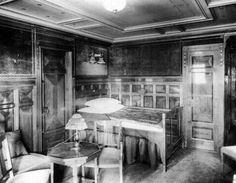 First class accommodations aboard the RMS Titanic in an undated photo. The largest ship afloat at the time, the Titanic sank in the north Atlantic Ocean on April after colliding with an iceberg during her maiden voyage from Southampton to New York City. Rms Titanic, Naufrágio Do Titanic, Titanic Photos, Titanic Sinking, Titanic History, Titanic Movie, Belfast, Original Titanic, Titanic Artifacts