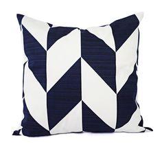 2 Navy Herringbone Pillow Covers  Broken by CastawayCoveDecor