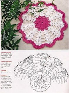 Home Decor Crochet Patterns Part 79 - Beautiful Crochet Patterns and Knitting Patterns Free Crochet Doily Patterns, Crochet Doily Diagram, Crochet Motif, Crochet Doilies, Crochet Flowers, Knitting Patterns, Crochet Stars, Thread Crochet, Crochet Stitches