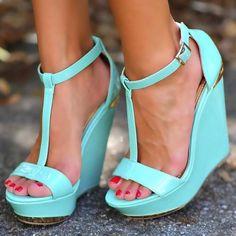 #FSJshoes - #FSJ Shoes Blue T Strap Buckle Sandals Open Toe Platform Stiletto Heels - AdoreWe.com