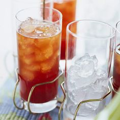 A mixture of strawberries, brown sugar, lemon juice, and rosemary adds a delicious twist to plain iced tea: http://www.bhg.com/recipes/drinks/tea/iced-coffee-iced-tea-recipes/?socsrc=bhgpin083114strawberryicedtea&page=6