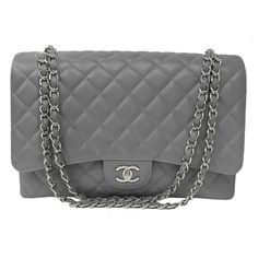 CHANEL  Chanel Grey Quilted Caviar Large Classic Maxi Flap