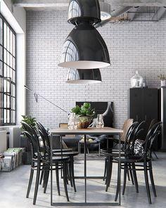 B & W kitchen dining warehouse