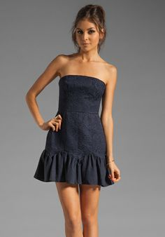 KEEPSAKE Thing Called Love Dress in Navy - Strapless