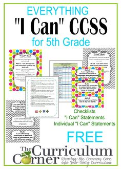 """""""I Can"""" Common Core Statements for CCSS free from The Curriculum Corner   Checklists   individual statements   posters & more!  I Can Common Core"""
