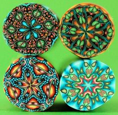 Set of  4 Polymer Clay Kaleidoscope Canes by Ivy Niles Koehn
