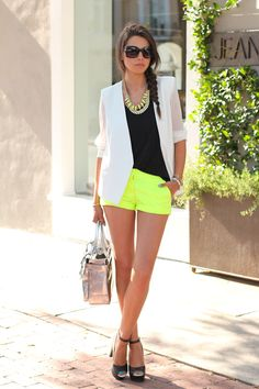 Neon shorts, black tee, white blazer for summer