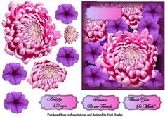 pink dahlia greetings on Craftsuprint - Add To Basket!
