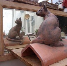 Maggie Curtis - Cat ridge tile in mirror