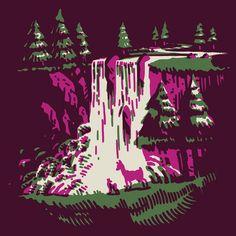 Waterfall. — tattoo, tattoos, inspiration, woodcut, illustration, screenprint, screen print, screenprinting, screen printing — Daily Black & White Illustration