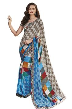 Sky Blue-Grey Georgette Digital Printed Saree With Fancy Fabric Blouse