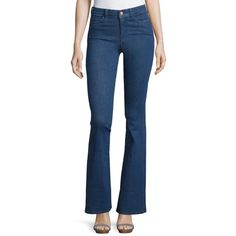 Mih Bodycon Marrakesh Denim Jeans ($58) ❤ liked on Polyvore featuring jeans, light blue, stretchy jeans, super stretch jeans, flared leg jeans, button-fly jeans and zipper jeans