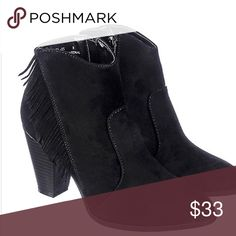 Brand new boots The fringes which hang from the side of the shaft gives the boot an edgy, yet sophisticated look. Match these with light denim skinny jeans, a white tank top or tee with a black fringe leather jacket or fringe blazer for an edgy, yet good girl gone bad look. Heel height: 3.5 in. Shaft: 3.75 in. Opening: 9 in. Synthetic suede  Fringes on side of shaft Side zipper closure Round toe Wooden heel All man made materials Bamboo Shoes Ankle Boots & Booties